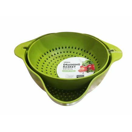 MINISO 名创优品 双层翻转果盘滤水篮(绿色)