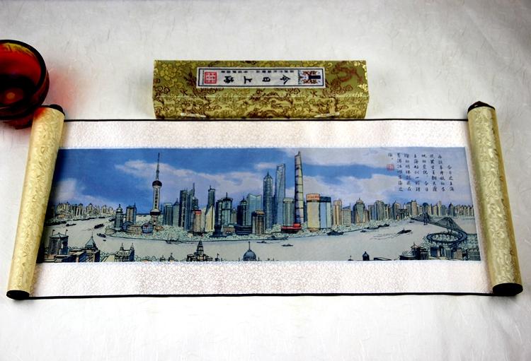 《今日上海》织锦画(彩色/黑白)