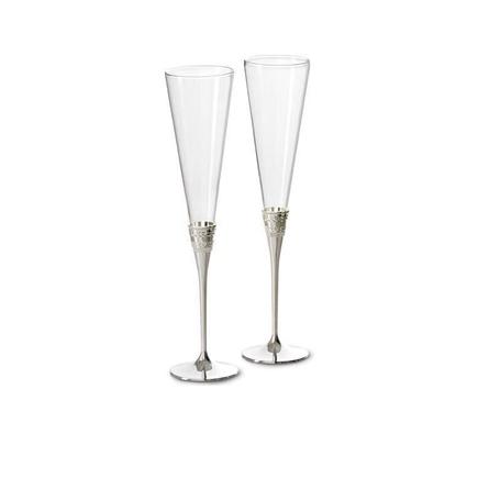 WEDGWOOD 真爱相随银色香槟杯高脚对杯57003606117